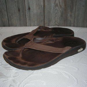 Chaco Thongs Sandals Brown Leather Flip Flops